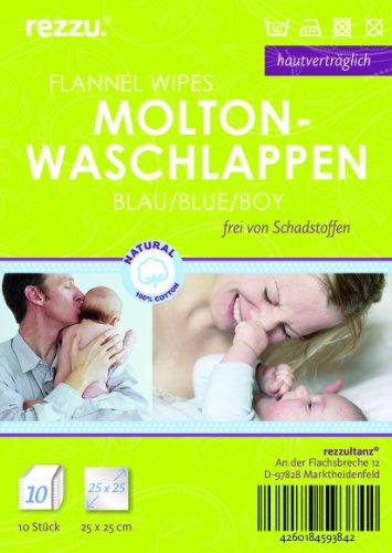 10 Stück Baby Molton Waschlappen 25x25cm Junge 100% Baumwolle bis 60° waschbar - das Original - der Klassiker: rezzu.®