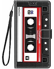 TYWZ Stijlvolle Kleurrijke Geschilderde Full Body Case voor Samsung Galaxy S10, PU Lederen Portemonnee Flip Kaarthouder Kickstand Boek Stijl Magnetische Cover-Zwarte Tape