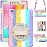TSQ Samsung Galaxy Tab A 8.0 Case 2019 SM-T290/T295 | Galaxy Tab A 8.0 Case Heavy Duty Rugged | Rubber Protective Case w/Stand Hand Shoulder Strap for Samsung Tab 8 Inch Tablet for Kids-Light Rainbow