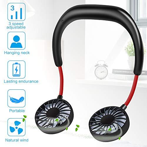 Nakeey Nackenbügel Ventilator, USB Tragbarer Ventilator mit Wiederaufladbarer Ventilator USB Fan Einfach zu Tragen, für Büro, Zuhause und im Freien