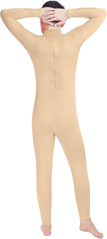 WEWESALE Mens One Piece Unitard Mens Turtleneck Spandex Long Sleeve Zipper Footless Full Body Leotard