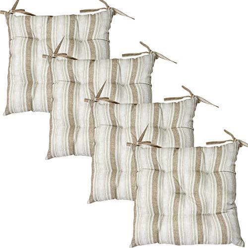 Viste tu hogar Pack 4 Cojines para Silla, 45X45 CM, Relleno de Algodón con Diseño de Rayas, Ideal para la Decoración de Cocina y Sala, Color Marrón, Fabricado en España