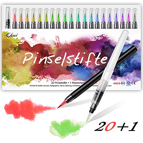 Qhui Rotuladores Punta Pincel 20 Colores y 1 Agua Pincel, Rotuladores Lettering con Punta suave y flexible, Rotuladores Acuarelables perfecto para Caligrafía, Manga, Bullet Journal y Coloreado