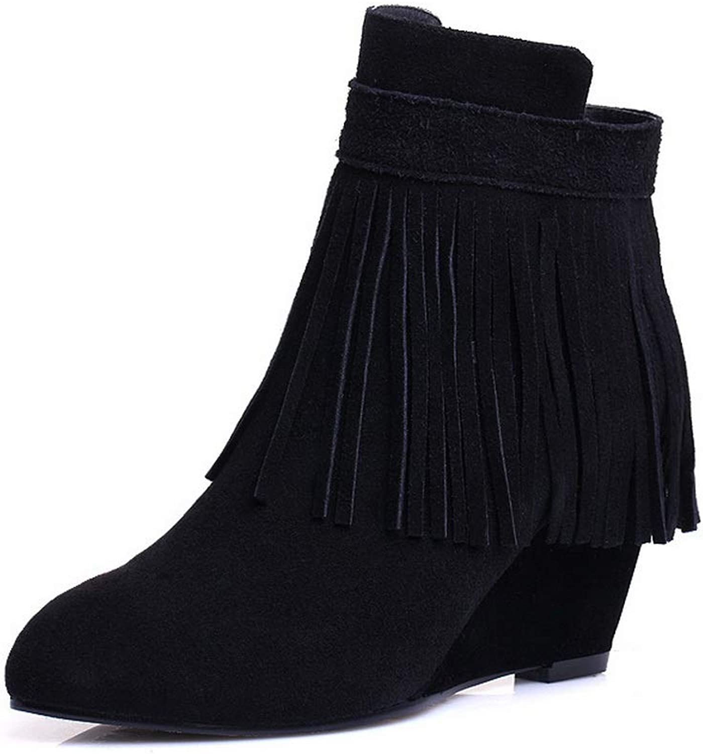 1TO9 Womens Wedges Tassels Imitated Suede Boots MNH03771