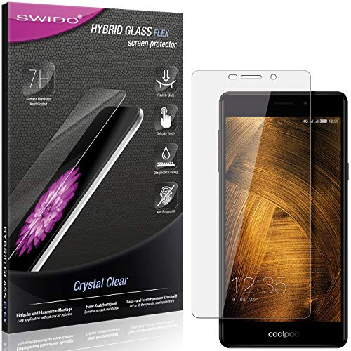 SWIDO Panzerglas Schutzfolie kompatibel mit Coolpad Modena 2 Bildschirmschutz-Folie & Glas = biegsames HYBRIDGLAS, splitterfrei, Anti-Fingerprint KLAR - HD-Clear