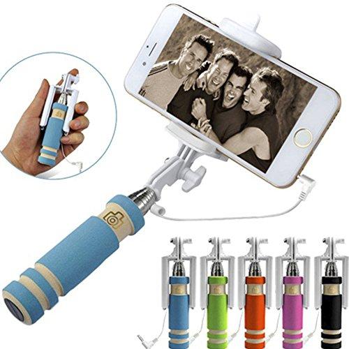MESE London Selfie Stick (Senza Batterie) In Alluminio Con Vano Per Il Telefono Regolabile, Grip E Scatto Wireless Integrato/ Bottone (Blu)
