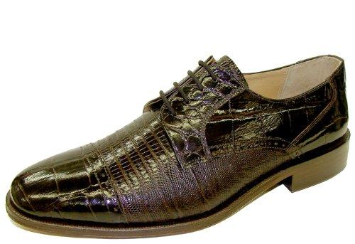 Giorgio Brutini Cayenne Croc and Lizard Print Cap Toe Dress Oxford 21008 Chocolate 9 W