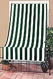 Tenda da Sole con Kit Ganci e Anelli in Tessuto Resistente da Esterno o Balcone Lavabile Colore Verde e Bianco 145x250 cm