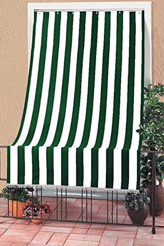 eurostile Tenda da Sole con Kit Anelli e Ganci in Tessuto Resistente da Esterno o Balcone Lavabile Colore Verde e Bianco 150x290 cm