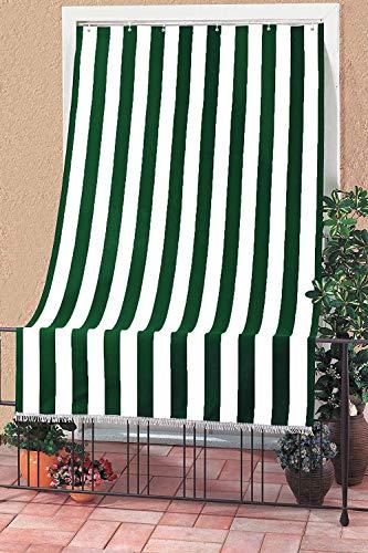 Toldo con kit de ganchos y anillas, de tela resistente, para exterior o balcón, lavable, color verde y blanco, 145 x 250 cm