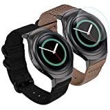 Zeit Diktator 2PCS Packing Watch Band for Samsung Gear S2 Watch,20mm Nylon Band with Screen Protection Firm Compatible with Samsung Gear s2 smartwatch (Black+Khaki)