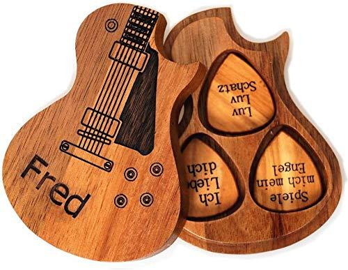Púas de guitarra personalizadas de madera con soporte para púas de guitarra