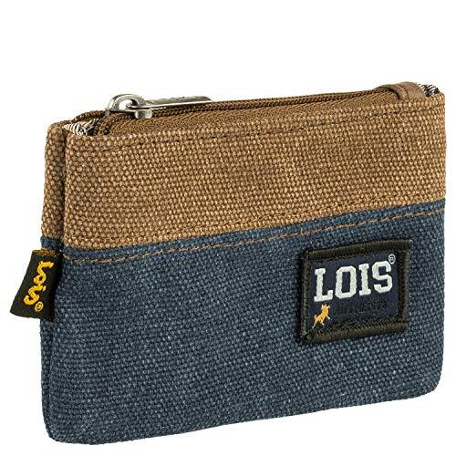 Lois - Monedero de Lona y Polipiel. Llavero, Monedas Llaves Billetes Tarjetas dni. Pequeño. Protección RFID. 203702, Color Azul