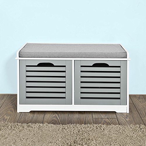 Haotian FSR23-K White Storage Bench with 2 Drawers & Removable Seat Cushion, Shoe Cabinet Shoe Bench (White)