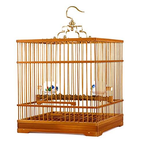 Jaula De Bambú Pájaros Pequeña Jaula De Bambú Dorado Jaula De Pájaros Canarios Cuatro Esquinas De La Parte Inferior De La Jaula Están Reforzadas Son Fáciles De Limpiar