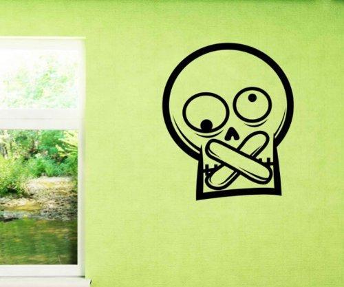 Wandtattoo Totenkopf Pflaster Skull Skulls Schädel Tür Fenster Aufkleber 5O028, Farbe:Königsblau Matt;Hohe:65cm