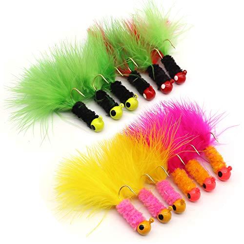 XFISHMAN Crappie Jigs Fishing Lure Marabou Hair Feather Jig Heads 1/16...