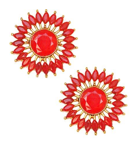 Pahal - Pendientes redondos de oro Jhumka tradicionales de color rojo Kundan para mujer