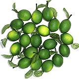 WangLaap 20Pcs Green Artificial Lemons Simulation Fruit Lifelike with Leaves Fake Lemon Limes for Home Kitchen Table Decor Vase Fillers (80mm)