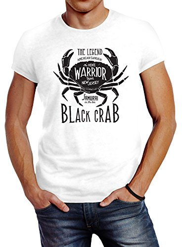 Neverless Herren T-Shirt Black Crab Krabbe Krebs Slim Fit weiß M