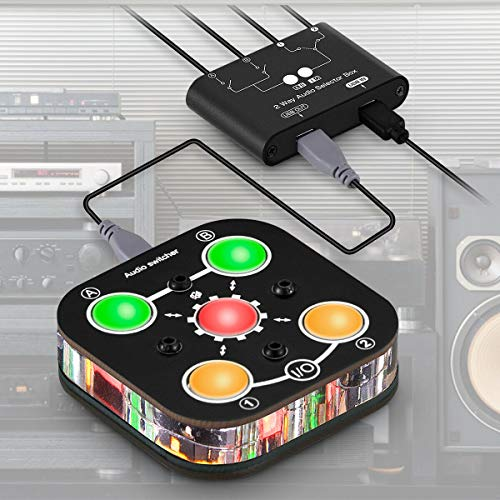 Mini 2-Port Audio Umschalter Stereo Switcher Box 3.5mm Headphone Splitter Mixer