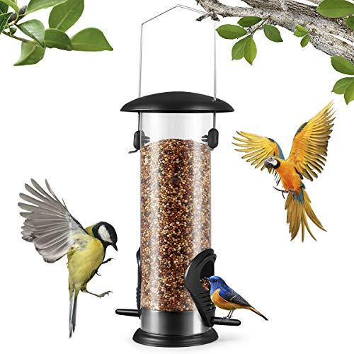Bird Feeder, Hanging Wild Bird Feeder with 2 Port, Garden Detachable...