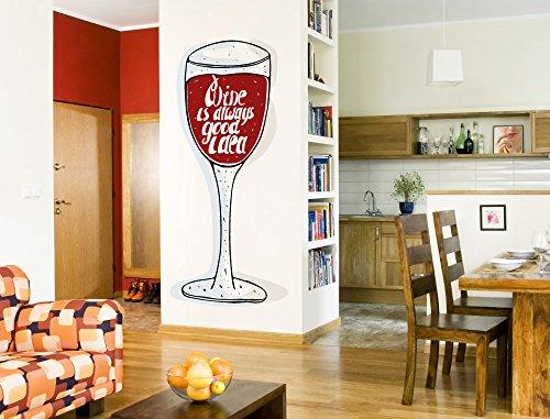 Wandtattoo Küche Weinglas in rot mit Schriftzug Wandsticker Getränke Bar Deko