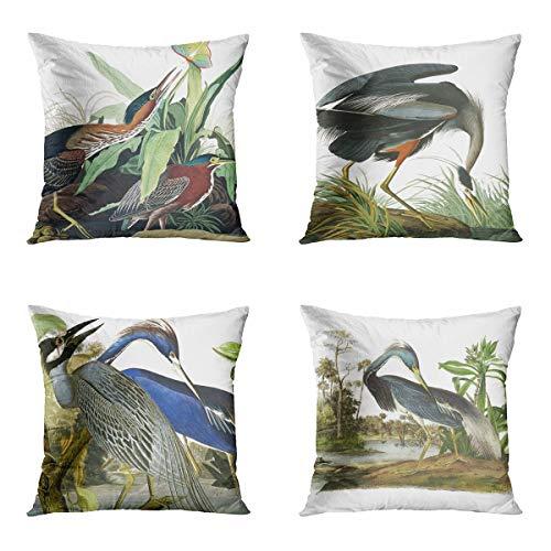 Awowee Juego de 4 fundas de almohada de 45 x 45 cm, diseño de aves de garza y vida silvestre de animales tricolores verde decoración del hogar funda de cojín cuadrada para sofá cama