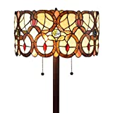 Amora Lighting Tiffany Style Floor Lamp Vintage Antique 63' Tall Stained Glass Brown Red Tan Traditional Light Decor Bedroom Living Room Reading Gift AM342FL16, Multicolor