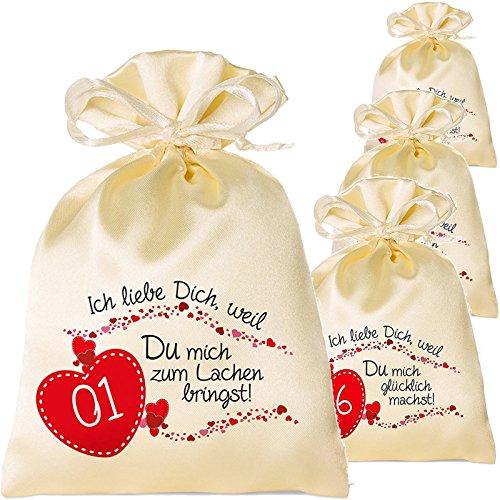 Adventskalender zum Befüllen für Erwachsene mit Adventsbaum und 24 Säckchen 24 Gründe Warum ich Dich Liebe