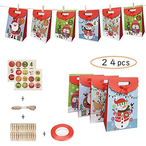 LHSDJ Taschen, Bunte Drucke, kleine Geschenktüten, 24 Stück Weihnachten, Countdown-Kalender, 24 10 m Jute-Kordel, 24 Wäscheklammern zum Basteln und Befüllen für Weihnachtsparty a