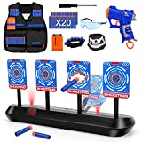 Digital Shooting Targets with Kids Tactical Vest Kit,4 Targets Electronic Scoring Auto Reset Shooting Target Game Toy with Foam Blasters Gun for Age of 5,6,7,8,9,10+ Years Old Kids/Boys/Girls Gifts
