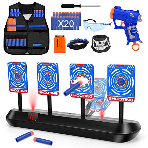 Digital Shooting Targets with Kids Tactical Vest Kit,4 Targets Electronic Scoring Auto Reset...