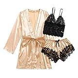 3PC Sleepwear for Women Sexy Lace Pajamas Set, OutTop Satin Silk Nightdress Lingerie Cami Robes Underwear (Beige, XL)