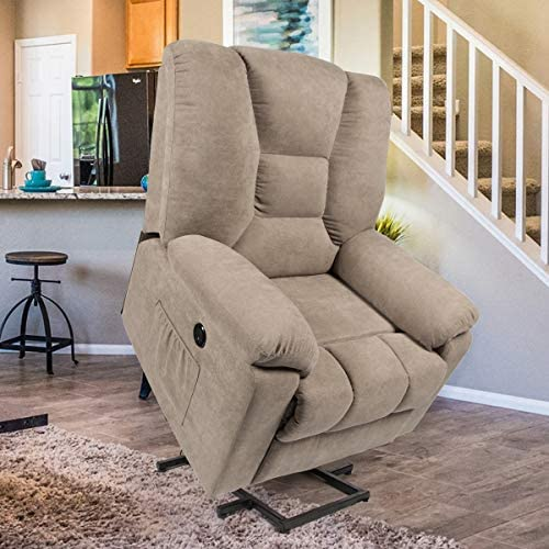 Best Esright Microfiber Power Lift Electric Recliner Chair with Heated Vibration Massage Sofa Fabric Livi