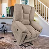 Esright Microfiber Power Lift Electric Recliner Chair with Heated Vibration Massage Sofa Fabric Living Room Chair with 2 Side Pockets, USB Charge Port & Massage Remote Control, Beige Grey