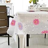 Ahuike Wachstuch Tischdecke Abwaschbar Keine Wiederverwendbaren Falten Pflegeleicht Garten Zimmer Tischdekoration Chrysantheme 137×220cm