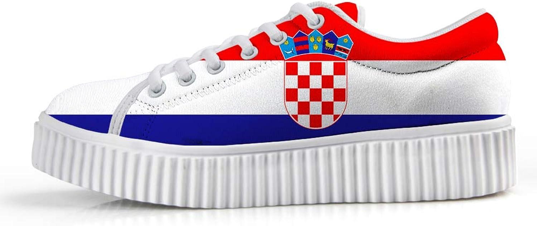 Owaheson Platform Lace up Sneaker Casual Chunky Walking shoes Low Top Women Croatia Flag