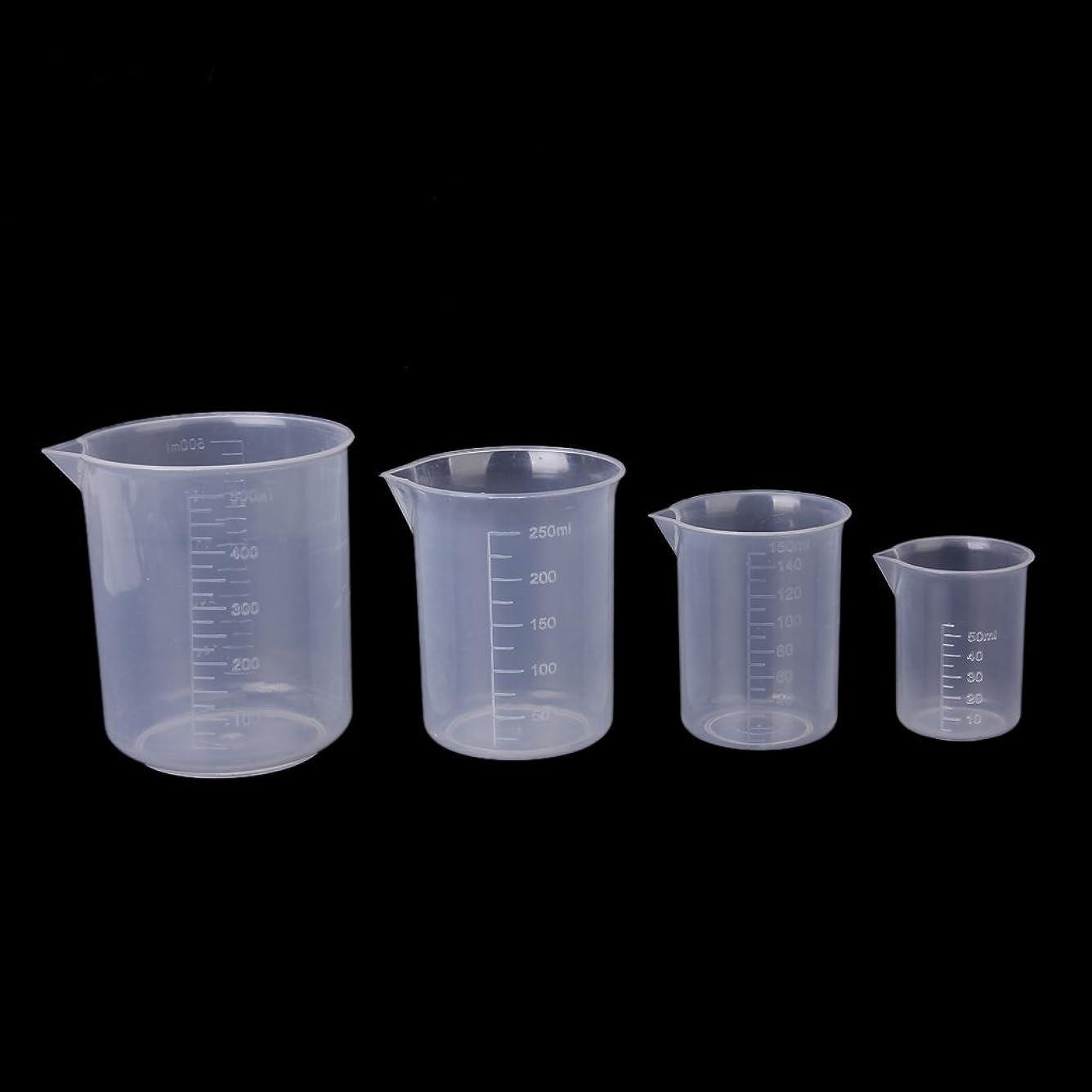 説明的せっかち孤独なgazechimp ビーカー メジャーカップ プラスチック製 クリア 目盛り付 計量 研究器具 実験用品 耐腐食性 2個