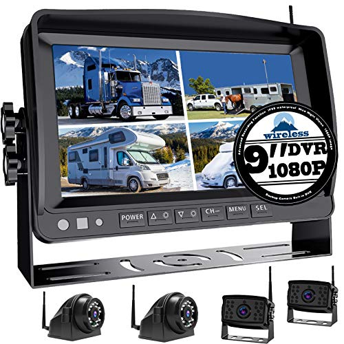"""Wireless 9"""" Large DVR Monitor Backup Camera 1080P System for RV semi Box Truck Trailer Rear and Side View System Quad HD Camera 4 Split Screens Advanced Record IP69 Waterproof Avoid Blind spot A2"""