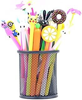 30Pcs Refillable Gel Ink Rollerball Pens from Chris.W, Cute Cartoon Shell, 0.5mm Extra Fine Tip, Black Ink - Bonus a Free Mesh Pencil Holder