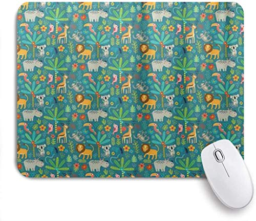 Afrikanische Tiere Hippo Papagei Koala Und Hirsch Tropische Pflanzen Blumen Gummiunterseite Maus Pad,Schreibtischunterlage,Mausmatte,Mausunterlage
