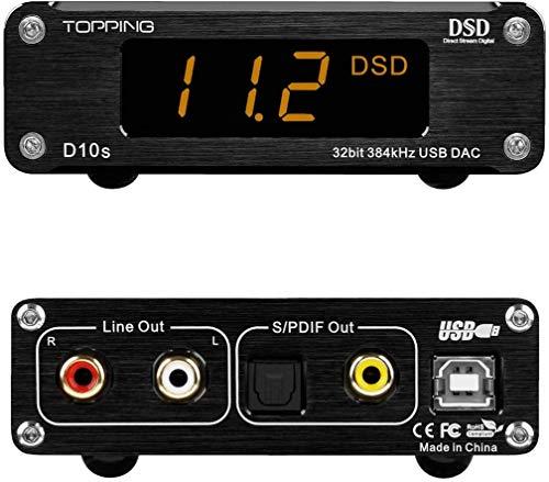 TOPPING D10s DAC Mini USB DAC Hi-Res ES9038Q2M DSD256 XMOS(XU208)オーディオデスクトップ dsd dac LME49720 ddc オーディオ デコーダ audio dac オーディオデコーダー dac ハイレゾ dac usb dac topping黒