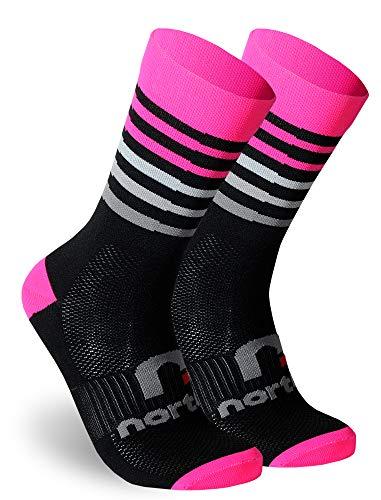 NORTEI - Calcetines de Ciclismo, MTB y Running de Meryl para Hombre y Mujer – Aero (M(40-42), Fluor Pink)
