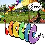 VIONNPPT 3 Stück Bunte Zusammenklappbar Tent Faltbare Rainbow Spiral Windmühle Saite Whirligig Rollen, Spinner Haus Garten Decor Ornamente Klassisches Spielzeug