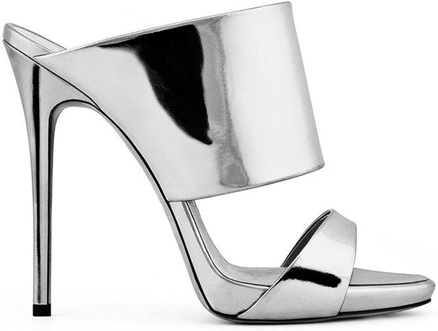 Jiang Womens's shoes Ladies High-Heeled Sandals Shine High-Heeled Luxury Silver Champagne Sandals