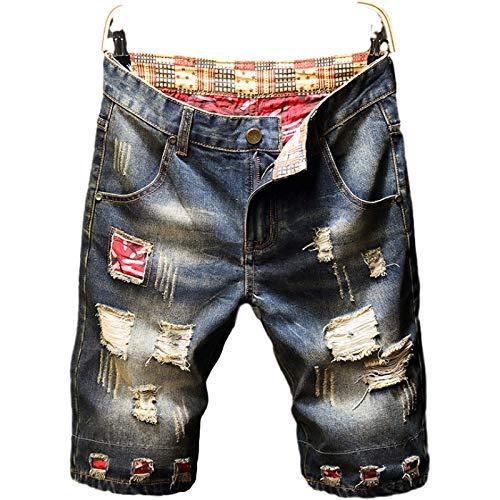 Pantalones cortos de mezclilla para hombre, pantalones cortos de mezclilla rasgados con tendencia de personalidad nueva y fina, pantalones de cinco puntos informales con tendencia de retazos retro 38