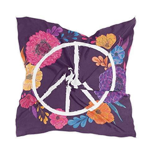 LZXO Damen Schal Peace Blume Symbol Quadratischer Schal Kopfschmuck Kopftuch Kopftuch Leichtes Halstuch Stirnband mit 10 x Bobby Pins - 60 x 60 cm