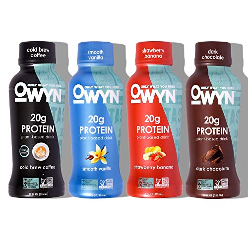OWYN Only What You Need OWYN 100% Plant-Based Vegan Allergen-Friendly Protein Shake, 4 Flavor Variety Pack, 12, Coffee, (Pack of 12), 144 Fl Oz