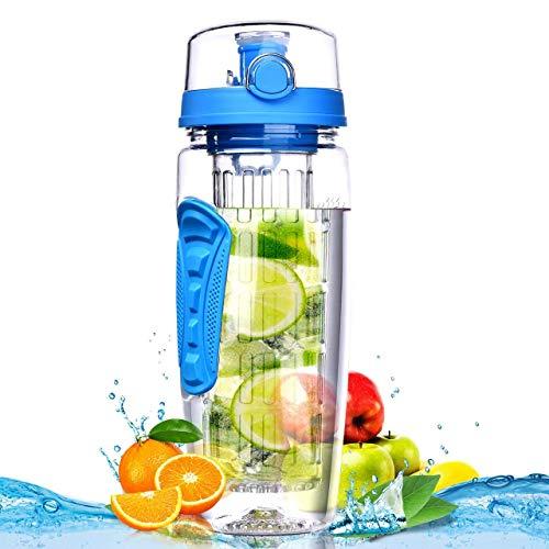 Botella de Agua Infusor de Frutas Grande 32oz – Nueva Canasta de Infusión de Longitud Completa/Libre de BPA Eastman Tritan – Presentando Una Varilla de Infusión de Longitud Completa, A Prueba de Fugas/Voltee la Tapa Superior/Agarre de Manos Doble (Azul)